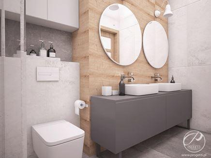 Elegancka łazienka z szarymi kamieniami i drewnem