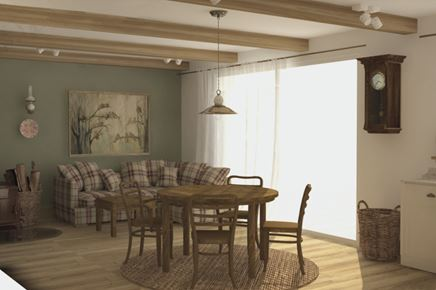 Ciepły salon vintage z drewnem