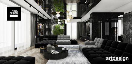 Nowoczesny salon z otwartym, wysokim sufitem