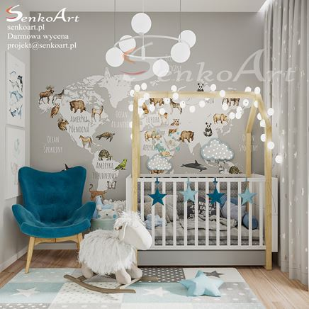 Pokój dziecięcy z szarością i błękitem