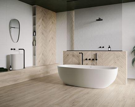 Aranżacja łazienki w stylu skandynawskim z jodełkową ścianą