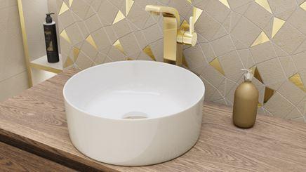 Umywalka nablatowa w bieli i złota mozaika
