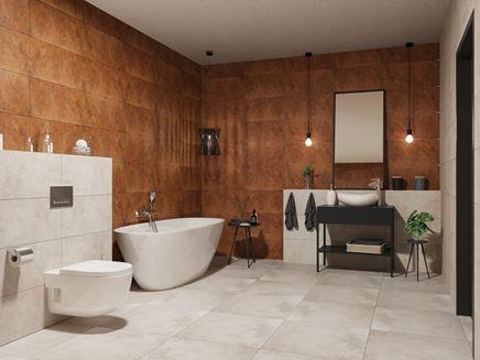 Karmelowa łazienka z dodatkiem szarości