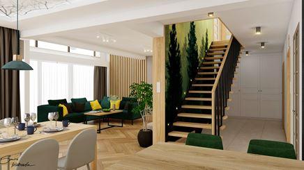 Widok na zieloną klatkę schodową