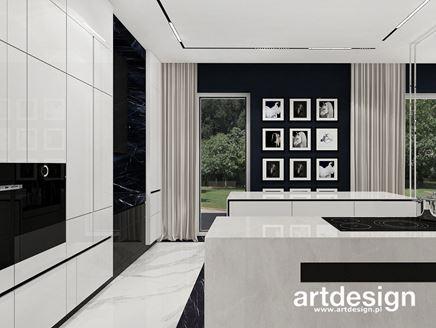 Marmurowa kuchnia z galerią obrazów