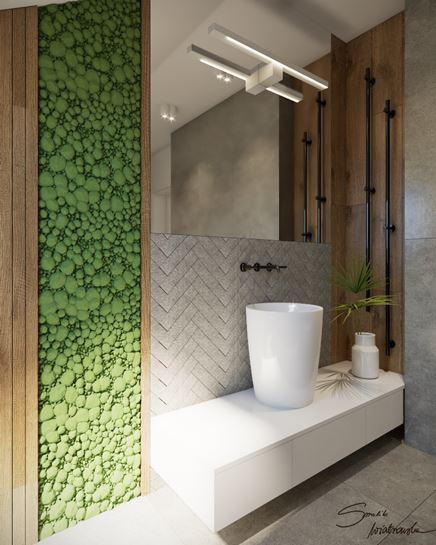 Strefa umywalki z zieloną ścianą