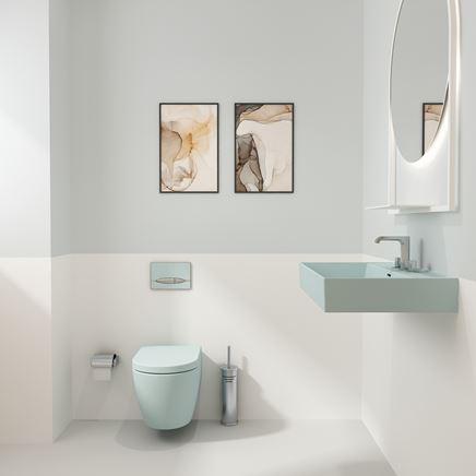 Pastelowa toaleta z podwieszaną ceramiką