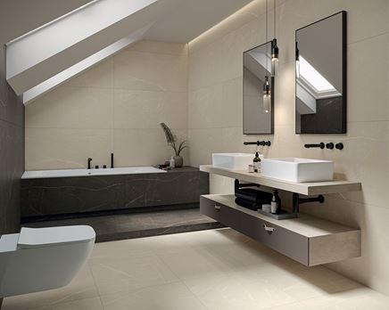 Nowoczesna łazienka na poddaszu wykończona kamiennymi płytkami