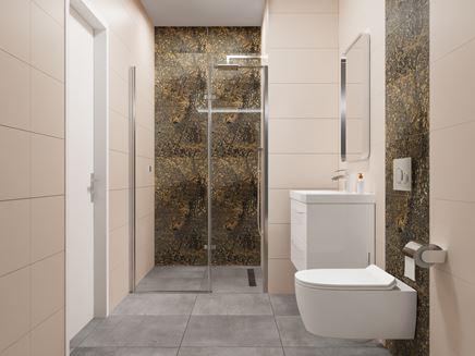 Kremowa łazienka ze złotymi panelami