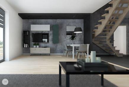 Strefa jadalna w salonie z betonową ścianą