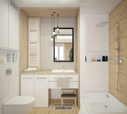 Kobieca łazienka z bielą i drewnem
