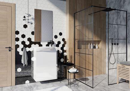 Czarno-biała łazienka z heksagonalną mozaiką i drewnem