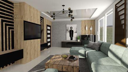 Salon w stylu industrialnym drewnem i betonem
