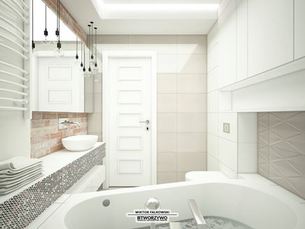 Mała łazienka z wanną w bloku