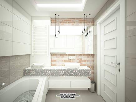 Nowoczesna łazienka - cegła i dekor 3d
