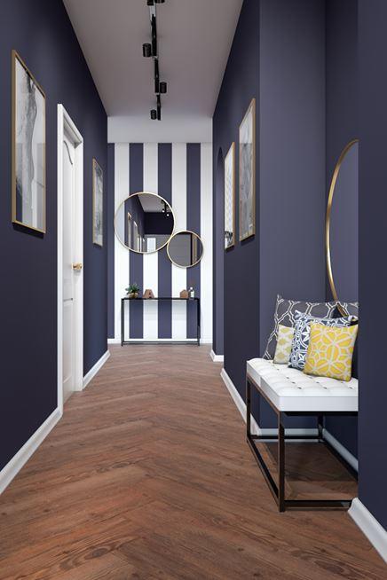 Fioletowy korytarz z kolekcją Bergamo