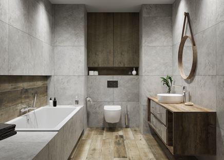 Łazienka w szarościach i drewnie. Drugi projekt