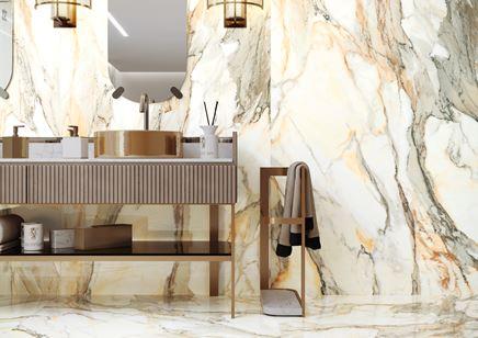 Marmur ze złotym użyleniem - kolekcja Calacatta Gold marki Cerrad