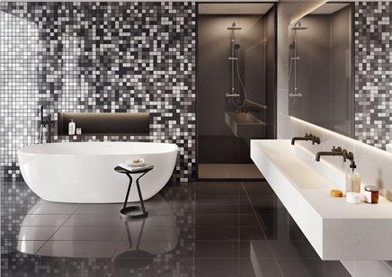 Grafitowa łazienka z mozaikową ścianą