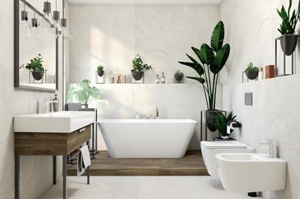Jasna łazienka w kamieniu z wanną wolnostojącą