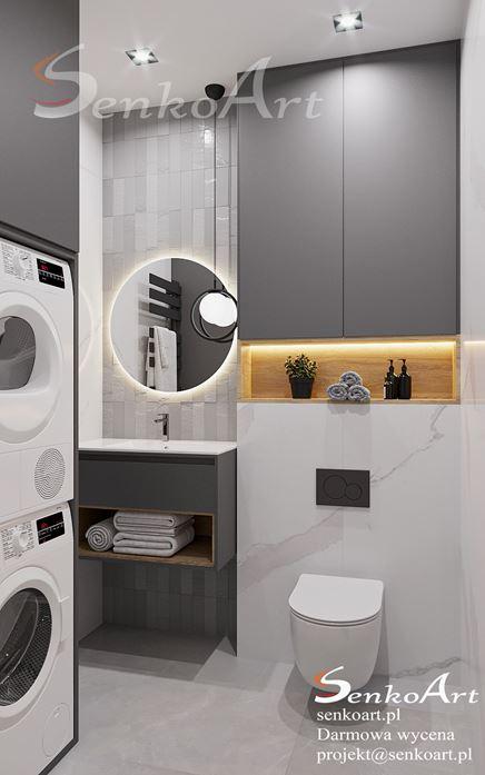 Marmur i szare kafelki w małej łazience