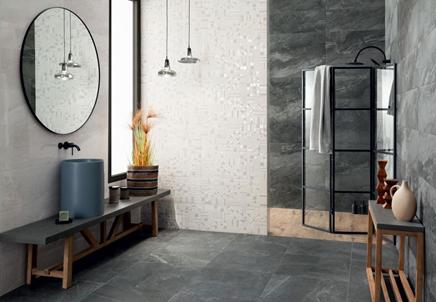 Nowoczesna łazienka w szarym kamieniu i białych dekorach
