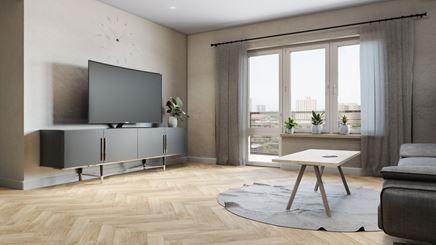 Jasny salon z jodełkową podłogą z wzorem drewna