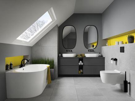 Łazienka na poddaszu w kolorach roku 2021