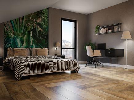 Nowoczesna sypialnia z drewnianą podłogą Paradyż Trophy