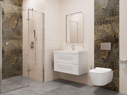 Aranżacja kremowej łazienki ze złotymi dekorami Vijo Castemola