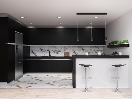 Projekt eleganckiej kuchni z płytką imitującą marmur