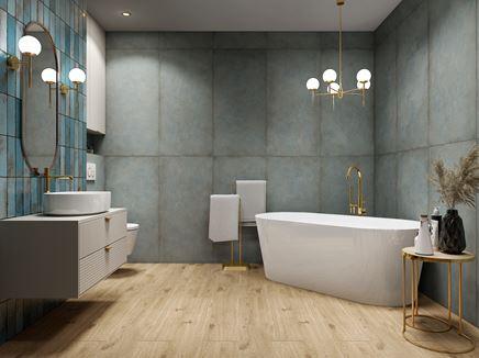 Stylowa łazienka z kolekcją Tubądzin Patina Plate