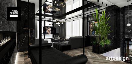 Ciemny salon ze ścianką z zielonych roślin