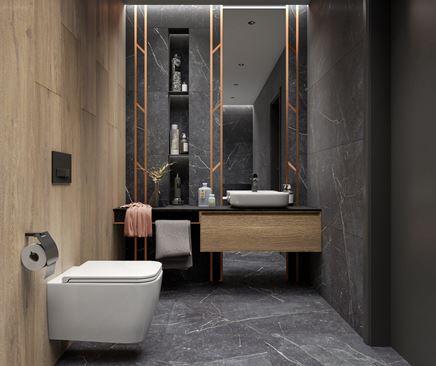 Aranżacja łazienki w kamieniu i drewnie