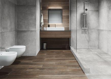 Minimalistyczna łazienka w betonie i drewnie