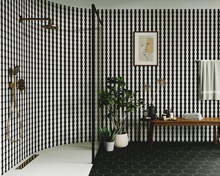 Mozaikowa łazienka w czerni i bieli