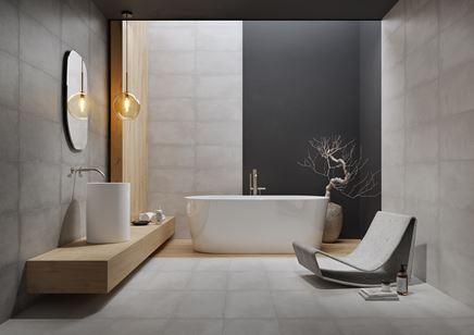 Minimalistyczna łazienka w odcieniach szarości