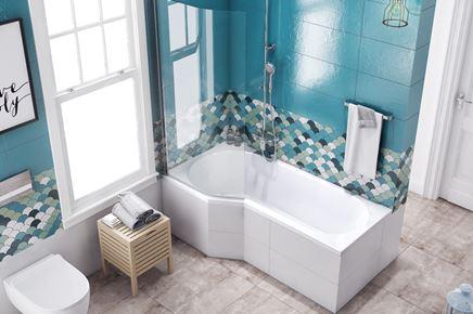 Niebieska łazienka z wanną asymetryczną Wanna Excellent Be Spot