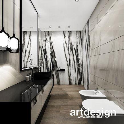 Biały marmur w szarej łazience
