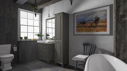 Klasyka i rustykalność w szarej łazience