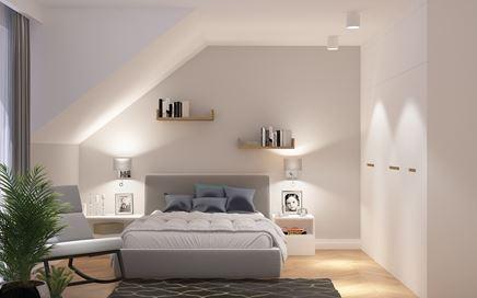 Biało-szara sypialnia pod skosami