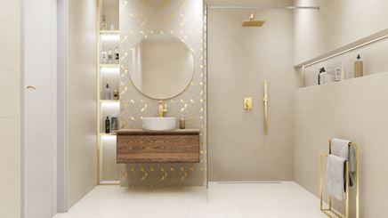 Aranżacja jasnej łazienki ze złoconą mozaiką