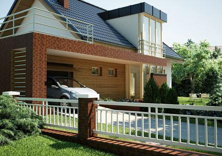 Dom w nowoczesnym stylu z czerwoną płytką klinkierową