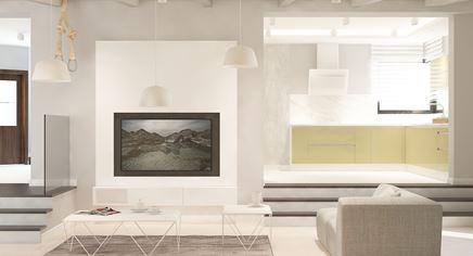 Eklektyczny salon połączony z kuchnią