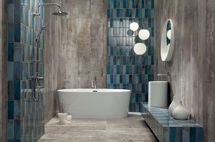 Szaro-niebieska łazienka w nowoczesnej aranżacji