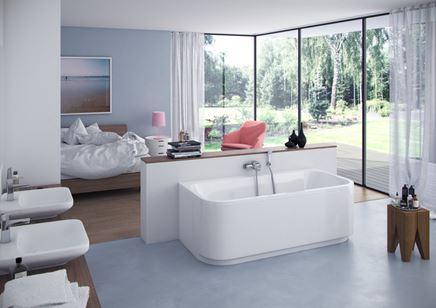 Nowoczesny salon kąpielowy przy sypialni