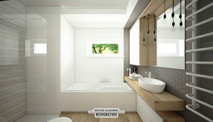 """Mała łazienka z wanną i prysznicem w projekcie """"TWORZYWO"""" Warsztat Architektury Wnętrz"""