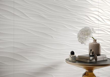 Detal białej płytki strukturalnej Opoczno Ola Bianca