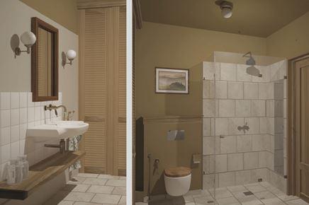 Beżowa łazienka retro