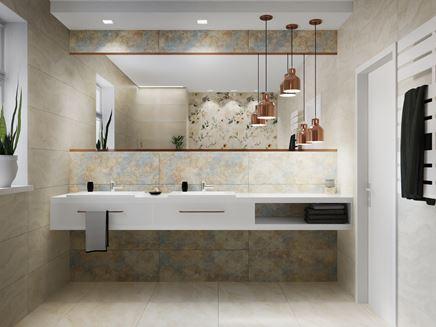 Aranżacja jasnej łazienki z płytkami Azario Pravia